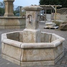 French Stone Fountain, French Village Design, 100% carved Limestone. Use central piece as fountain into pond
