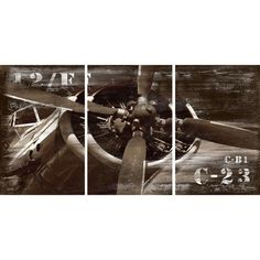 Bring vintage-inspired style to your living room or den with this eye-catching canvas print, featuring a retro airplane design and numerical motif.