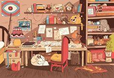 hilda aesthetic woodman bedroom cartoon background amazing comic troll findings desk visit pearson luke anime animation everything need illustration