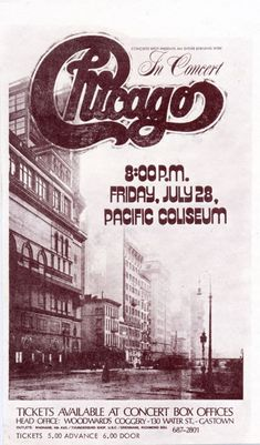 Chicago The Band: Concert Poster Chicago The Band, Rock Posters, Band Posters, Event Posters, Rock & Pop, Rock And Roll, Vintage Concert Posters, Concert Flyer, Rock Concert