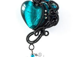OOAK Blue and red gothic wire wrapped pendant by ukapala on Etsy