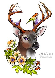 on Wacom Gallery - Tattoo flash design. on Wacom Gallery - Art Drawings Sketches, Animal Drawings, Hirsch Tattoo, Anime Boy Sketch, Traditional Tattoo Design, Nordic Tattoo, Deer Tattoo, Deer Art, Mythical Creatures Art