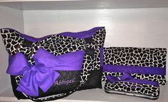 Personalized 3 Piece Diaper Bag Set In Black/White Giraffe Print With Bright Purple Accents