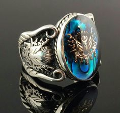 Sterling Silver Sapphire Enamelled Stone Ottoman Men`s Ring -US Seller in Jewelry & Watches, Men's Jewelry, Rings Cheap Mens Rings, Mens Rings For Sale, Gold Jewelry, Jewelry Rings, Jewelry Watches, Fine Jewelry, Effy Jewelry, Beaded Jewelry, Delicate Jewelry