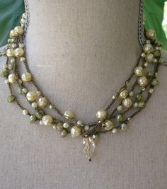 Rustic pearl crochet wrap bracelet or crochet by 3DivasStudio