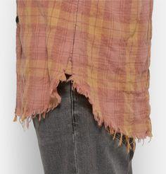 Saint Laurent - Distressed Checked Cotton-Blend Shirt