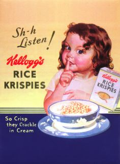 "So crisp. Vintage Rice Krispies advertisement.....definately before the ""snap, crackle, pop"" ads!"