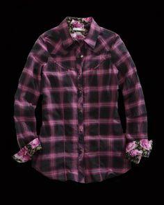 Tin Haul® Women's Black & Pink Plaid Long Sleeve Snap Cowgirl Shirt
