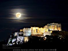 Full Moon in Athens  to day . by ex80ifcwuv. @go4fotos