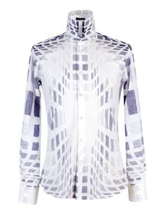 Tonello man SS15. All-over optical print cotton poplin shirt.