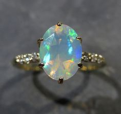 Genuine Ethiopian Opal Ring w/ Diamond Accents   by ZoZoDesignsUSA, $400.00