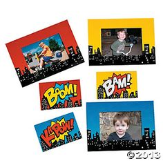 Superhero Magnetic Photo Frames: center magnet pops out and it becomes a picture frame.  Great party favor!  $7.25 for 12.  {Oriental Trading}