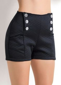 Short cintura alta com botões. Short Outfits, Summer Outfits, Cute Outfits, Chor, Cute Shorts, Fashion Outfits, Womens Fashion, Black Denim Shorts, Short Skirts