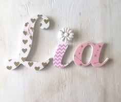 Girl's Room Letters Gold Black & Pink by LoveLettersForGracie Wood Nursery, Nursery Name, Nursery Room, Baby Letters, Small Letters, Lower Case Letters, Cardboard Letters, Wish Gifts, Metal Hangers
