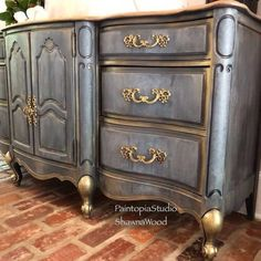 Vintage Buffet – Blue Gray Handpainted Dresser~ Grey Painted Sideboard – Blue Gray Gold Dresser – SO / Dekopub Painting Wooden Furniture, Funky Furniture, Refurbished Furniture, Repurposed Furniture, Shabby Chic Furniture, Rustic Furniture, Furniture Makeover, Antique Furniture, Etsy Furniture