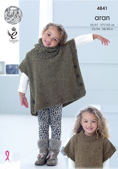 Aran Woman And Child Poncho Buttoned Tabbard & Snood Knitting Pattern King Cole 4841 Small Child To 40 in Chest – Knitting patterns, knitting designs, knitting for beginners. Snood Knitting Pattern, Poncho Knitting Patterns, Crochet Poncho, Knitting Designs, Tunic Pattern, Knitting For Kids, Baby Knitting, Girls Poncho, King Cole