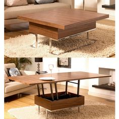 A dining table can eat up a lot of real estate in a small apartment. So can a coffee table for that matter. This convertible coffee table from Dwell is two tables in one. Coffee table by day, dining t (Cool Furniture Small Spaces) Space Saving Furniture, Furniture For Small Spaces, Dining Furniture, Home Furniture, Furniture Design, Furniture Ideas, Furniture Makeover, Furniture Outlet, Smart Furniture