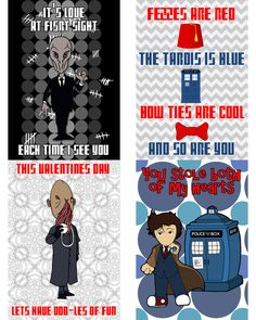 Printable Dr. Who Valentine's Day Cards