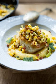 Halibut with Fresh Corn, Leeks, Pancetta & Sage over Creamy Polenta Fish Recipes, Seafood Recipes, Whole Food Recipes, Halibut Recipes, Chef Recipes, Recipies, Dinner Recipes, Cooking Recipes, Easy Delicious Recipes