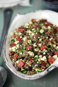 Greek Lentil Salad - lentils, zucchini, red peppers (if in jar check ingreds), feta (untested, add in Phase 6, tuna can be added), olives, parsley, olive oil, allowed vinegar, garlic, oregano, salt, black pepper