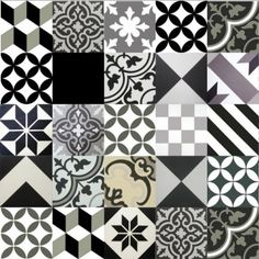 Gạch bông tổng hợp tông màu trắng xám đen B