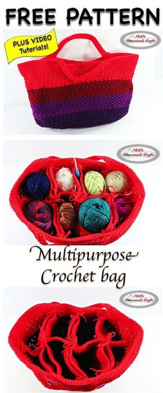 Crochet Purses Patterns Multipurpose Crochet Bag - Free Crochet Pattern - This multipurpose crochet bag is easy to crochet and allows to endless possibilities for what to use it for. Most people use it for yarn. Crochet Shell Stitch, Crochet Tote, Crochet Handbags, Crochet Purses, Crochet Crafts, Crochet Yarn, Crochet Hooks, Crochet Projects, Crochet Baskets