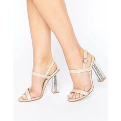 Public Desire Adley Glitter Clear Heeled Sandals ($46) ❤ liked on Polyvore featuring shoes, sandals, beige, ankle tie sandals, color block sandals, ankle strap high heel sandals, heeled sandals and high heel sandals