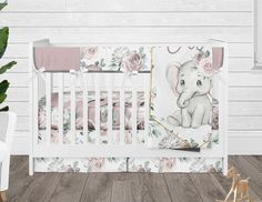 Floral Girl Crib Bedding Set, Elephant Baby Bedding, Personalized Blanket, Crib Sheet, Dusty Pink Flower Crib Skirt and Rail Guard Elephant Baby Bedding, Girl Crib Bedding Sets, Girl Cribs, Elephant Nursery, Pink Baby Bedding, Boppy Cover, Patchwork Blanket, Crib Skirts, Personalised Blankets