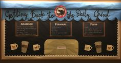 """Getting Back to the Daily Grind January bulletin board. Content is on the cafe """"chalkboards"""": academic, personal, and focus headings offer tips and tricks to succeed in the new semester.  Designed to look like a local coffee shop, could be adjusted to be any coffeshop (Starbucks, etc).  #RA, resident assistant, res life, residence life, college, university, dorm, residence hall, coffee, cafe, January, honors, floor"""