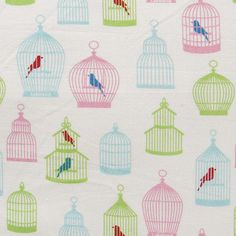 cotton fabric by the yard  birdcage print fabric  1 by pallavik, $6.50