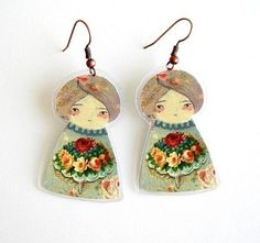Paper Doll Earrings: by Munieca from Argentina