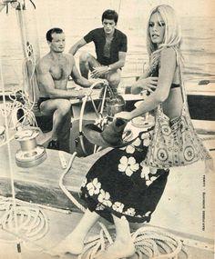"missbrigittebardot: ""Brigitte Bardot, Alain Delon & Eric Tabarly, 1968 """