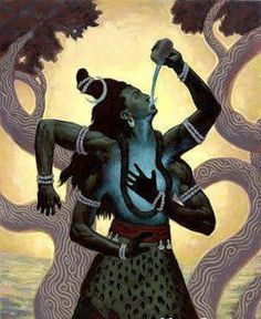 Shiva consumed the poison in an act to protect the universe - Drinking of this gross poison was a small matter for Shiva. In the 'Linga Purana' Shiva said there is still much poison in this world and those who could drink that poison are the real heroes. Shiva Art, Shiva Shakti, Hindu Art, Rudra Shiva, Kali Hindu, Om Namah Shivay, Hindu Deities, Lord Shiva, Lord Krishna