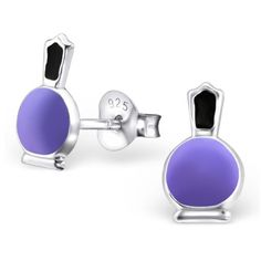 Children's 925 Sterling Silver Earrings - Purple Nail Polish / Varnish Bottle Studs