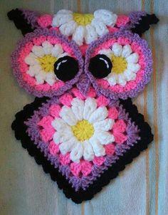 Crochet Miss Daisy Owl Potholder Pattern only Más Crochet Potholder Patterns, Crochet Motifs, Crochet Dishcloths, Crochet Hot Pads, Crochet Towel, Confection Au Crochet, Crochet Kitchen, Crochet Gifts, Crochet Flowers