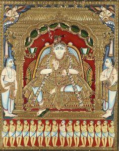 Mysore Painting, Tanjore Painting, Scratchboard Art, Lord Vishnu Wallpapers, Mural Painting, Aboriginal Art, Art Auction, Traditional Art, Miniatures