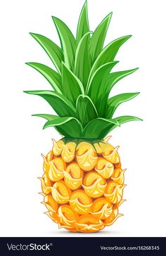 Pineapple with green leaf Royalty Free Vector Image , Free Vector Images, Vector Free, Pineapple Illustration, Wooden Coat Hangers, Hat Vector, Pineapple Design, Simple Icon, Food Icons, Leaves Vector