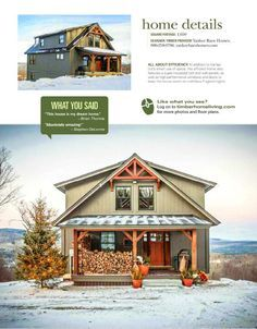 Small Barn Home Wins BIG Award Small barn home Moose Ridge Lodge has received a prestigious award. Moose Ridge now holds the title of Best Of 2016 Home Design from Timber Home Living. YBH is happy this small post and beam house … Barn House Kits, Pole Barn House Plans, Lake House Plans, Pole Barn Homes, Small House Plans, Barn Houses, Pole Barn Home Kits, Barn Style Houses, Small House Kits