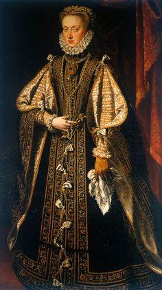 1571 Anna of Austria by Alonso Sánchez Coello (Kunsthistorisches Museum - Wien, Austria). From the now closed sayaespanola Web site Mode Renaissance, Renaissance Fashion, Renaissance Clothing, Historical Costume, Historical Clothing, European History, Art History, Austria, 1500s Fashion
