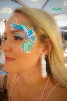 """a face paint design to match an """"under the sea theme"""" for a celebration Adult Face Painting, Belly Painting, Face Painting Designs, Paint Designs, Face Paint Party, 21st, 30th, Face Tattoos For Women, Professional Image"""