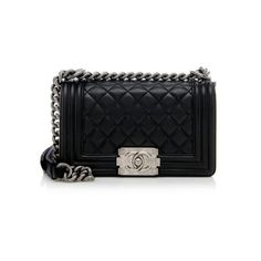 Rental Chanel Calfskin Small Boy Bag ($450) ❤ liked on Polyvore featuring bags, handbags, purses, black, chanel, man shoulder bag, handbags purses, chanel handbags, quilted shoulder bag and handbags shoulder bags