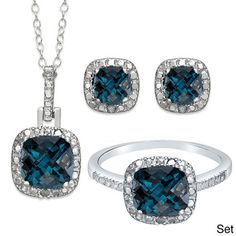 Dolce Giavonna Sterling Silver London Blue Topaz and Diamond Accent  Earring, Ring, Pendant, or Set