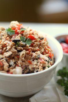 Mayo-less tuna salad with peppadew peppers and feta cheese