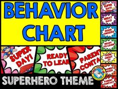 SUPERHERO THEME BEHAVIOR CLIP CHART  Monitor each child's behavior in your class by using this fun Superhero themed behavior clip chart. A great behavior management tool to encourage kids to stay on their best behavior!  Simply print, laminate and tape/attach all the sections together vertically. Place clothes pins with each child's name on 'READY TO LEARN'. Move the pins up or down according to each child's behavior.