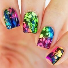 Have some serious fun recreating this water spotted nail art in a cocktail of fun neon shades. Watch this video tutorial and grab the must-haves to DIY. Best Nail Art Designs, Toe Nail Designs, Nail Polish Designs, Cute Nail Art, Cute Nails, Pretty Nails, Neon Nails, Diy Nails, Do It Yourself Nails
