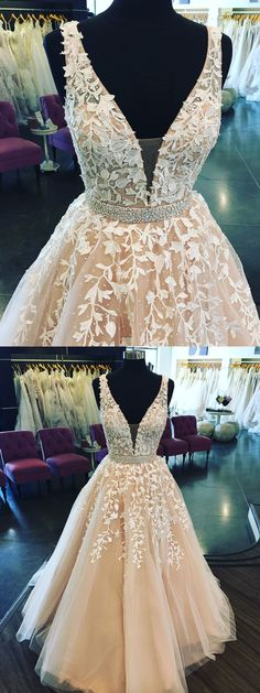 White Lace appliqued prom dresses,long prom dresses,shine prom dresses,2018 prom dresses,#prom #sheergirl #promdress