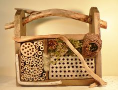 Country garden, cottage garden rustic garden, garden art, Mason Bee house for beneficial bees, ladybug abode