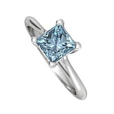 1.75 Ct Princess Cut March Birthstone Aquamarine 14K White Gold Solitaire Ring by JewelryHub on Opensky