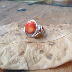 Whimsical Silver Wire Wrapped Spiral Swirl Ring with Orange Citrus Stone Size 6.5  #ring #jewelry #handmade #citrus #orange #stone #wirewrapped #silver #spiral #swirls