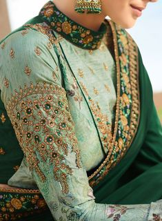 Buy Green Color Barfi silk saree Indian wedding saree double blouse in UK, USA and Canada Sari Blouse Designs, Kurta Designs, Blouse Patterns, Green Color Combination Dresses, Saree Gown, Saree Blouse, Chiffon Saree, Lehenga, Indian Attire